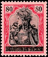 """80 Pfg Germania Mit Aufdruck """"Sarre"""" In Type I, Aufdruckfehler B """"waagerecht Geteilter Balken"""", Tadellos..."""