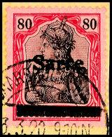"""80 Pfg Germania Mit Aufdruck """"Sarre"""" In Type I, Aufdruckfehler OI """"a Waagerecht Gespalten"""" (Feld 38), Gestempelt..."""