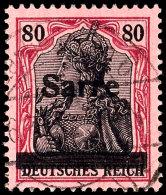 """80 Pfg Germania Mit Aufdruck """"Sarre"""" In Type I, Gestempelt """"Saarbrücken 6 - * (St. Arnual) A  16.3.20"""",..."""