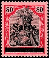 """80 Pf. Germania Sarre Mit Aufdruck Type I Tadellos Postfrisch, Gepr. Burger BPP Und Fotoattest Braun BPP: """"Die..."""