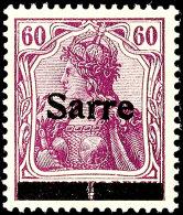 """60 Pfg Germania, Rotlila Mit Aufdruck """"Sarre"""" In Type I, Aufdruckfehler A """"in Der Mitte Senkrecht Geteilter..."""