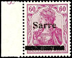 """60 Pfg Germania Rotlila Mit Aufdruck """"Saare"""" In Type I Von Platte I, Tadellos Postfrisches Sowie Farbfrisches..."""