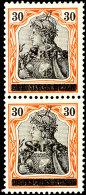 """30 Pfg Germania Auf Orangeweißem Papier Mit Aufdruck """"Sarre"""" In Type III, Senkrechtes Paar, Tadellos..."""