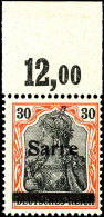 """30 Pfg Germania Auf Orangeweißem Papier Mit Aufdruck """"Sarre"""" In Type I, Plattenoberrandstück, Tadellos..."""