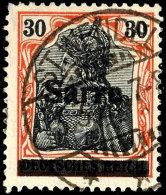 """30 Pfg Germania Auf Orangeweißem Papier Mit Aufdruck """"Sarre"""" In Type I, Aufdruckfehler KII, Gestempelt """"St...."""