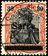"""30 Pfg Germania Auf Orangeweißem Papier Mit Aufdruck """"Sarre"""" In Type I, Gestempelt """"Saarbrücken 3 - *..."""