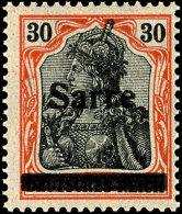 """30 Pfg Germania Auf Orangeweißem Papier Mit Aufdruck """"Sarre"""" In Type I, Tadellos Postfrisch, Fotoattest Braun..."""
