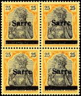 25 Pf Germania Sarre Viererblock In B-Farbe Mit Aufdruck Type III Tadellos Postfrisch, Gepr. Burger BPP Und...