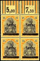 25 Pf Germania Sarre In B-Farbe Mit Aufdruck Type I, Viererblock Oberrand Walze Tadellos Postfrisch, Dabei Linke...