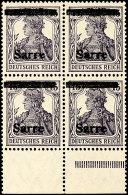 """15 Pfg Germania Mit Aufdruck """"Sarre"""", Postfrischer Viererblock Vom Unterrand, Aufdruck In Type III, Abart..."""
