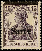 15 Pf. Germania-Sarre, Type I, Verschobener Aufdruck, Balken Oben, Schrift Unten, Postfrisch, Gepr. Burger BPP, Mi....