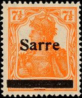 """7½ Pf. Germania-Sarre, Type II, Plattenfehler """"S Oben Gebrochen"""", Postfrisch, Käferzeichen, Gepr...."""