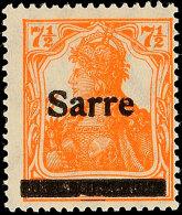 """7½ Pf. Germania-Sarre, Type II, Plattenfehler """"Einkerbungen Im Balken Unten"""", Postfrisch, Käferzeichen,..."""