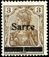3 Pf. Germania, Aufdruck Type II Mit Senkr. Geteiltem Balken, Ungebraucht, Gepr. Burger BPP, MI. 350,-, Katalog:...