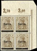 """3 Pfg Germania Mit Aufdruck """"Sarre"""" In Type II, Viererblock Vom Eckrand Oben Rechts (Feld 9/10 Und 19/20),..."""