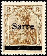 """3 Pfg Germania Mit Aufdruck """"Sarre"""" In Type II, Tadellos Postfrisch, Gepr. Burger BPP Und Fotobefund Braun BPP..."""