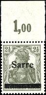 """2 1/2 Pfg Germania Dunkelgrüngrau Sog. Bronzegrau Mit Aufdruck """"Sarre"""" In Type I, Plattenoberrandstück..."""