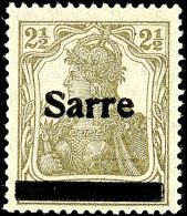 """2 1/2 Pfg Germania Dunkelgrüngrau Sog. Bronzegrau Mit Aufdruck """"Sarre"""" In Type I, Aufdruckfehler B, Tadellos..."""