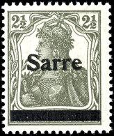 """2 1/2 Pfg Germania Dunkelgrüngrau Sog. Bronzegrau Mit Aufdruck """"Sarre"""" In Type I, Tadellos Postfrisch,..."""