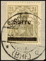 """2½ Pf. Germania-Sarre, Type I, Plattenfehler """"e Zweimal Gebrochen"""", Auf Briefstück, Käferzeichen..."""