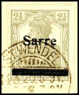 """2 1/2 Pfg Germania Olivgrau, Aufdruck In Type II, Tadellos Gestempelt """"ST. WENDEL 13.3.20"""" Auf Briefstück,..."""