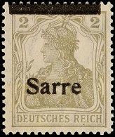2 Pf. Germania-Sarre, Type I, Verschobener Aufdruck, Balken Oben, Schrift Unten, Postfrisch, Gepr. Burger BPP, Mi....