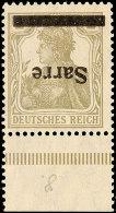 """2 Pfg Germania Mit Aufdruck """"Sarre"""" In Type I,  Abart """"kopfststehender Aufdruck"""", Unterrandstück, Postfrisch..."""