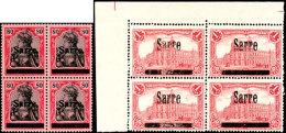 """2 Pfg Bis 1 Mark Germania Mit Aufdruck """"Sarre"""" In Type I Oder II, Viererblocksatz, Tadellos Postfrisch, Folgende..."""
