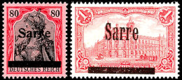 """2 Pf Bis 1 Mark Germania Sarre Komplett Tadellos Postfrisch, Fotoattest Braun BPP: """"Die Qualität Ist..."""