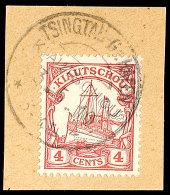 TSINGTAU-Gr- HAFEN KIAUTSCHOU 3.5.10, Recht Klar Auf Pracht-Briefstück Mit Mi.-Nr. 20, Katalog: 20...