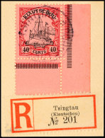 40 Cts., Rechte Untere Bogenecke Tadellos Auf Dekorativem Briefstück TSINGTAU Mit R-Zettel, Mi. 120,- ++,...