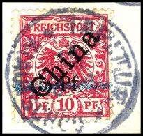 """5 Pf. Auf 10 Pfg Auf Briefstück, Aufdrucktype 1a, Zentrisch Gestempelt """"TAPUTUR KIAUTSCHOU 23/7/00"""",..."""