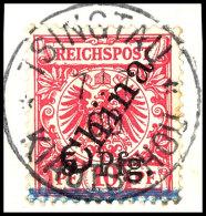 5 Pfg Auf 10 Pfg Mit Steilem Aufdruck In Der Untertype 5 Auf Briefstück, Mit Sauberem Und Zentrischen Stempel...