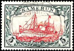 "5 Mark Kaiseryacht Im Friedensdruck, Gezähnt 26 : 17, Tadellos Gestempelt ""DUALA 3-4. 14"", Kabinettstück,..."