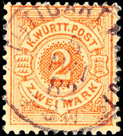 "2 Mark Weiße Ziffer Im Kreis, Tadellos Gestempelt ""Stuttgart 5 Mai 82"", Kabinett, Gepr. Thoma BPP, Mi. 160.-,..."