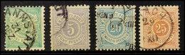 Freimarken Mi. 44b, 45b, 47b Und 48b, Alle Tadellos, Gestempel, Gepr., Mi. 235,-, Katalog: Ex44b/48b OPostal...