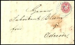 """""""CATLENBURG 23/5"""", K2 Blau, Klar Und Zentrisch Brief (Registraturbug Und Fleck) Preussen 1 Sgr. Nach Osterrode,..."""