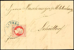 """""""LATHEN 26/11"""" (1863) Blauer Dkr. Auf 1 Gr. Lilarot, Allseits Breit- Bis Vollrandig Auf Brief Nach Schüttorf,..."""
