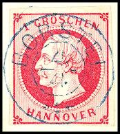 """""""BORSTEL 4/4"""", Blauer DKr. Zentrisch Und Gerade Auf 1 Gr. Rosa Auf Briefstück, Kabinett, Katalog: 8a..."""