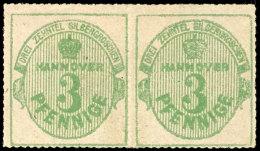3 Pfennige Grün, Durchstochen, Weiße Gummierung, Waagerechtes Kabinettpaar, Tadellos Ungebraucht,...