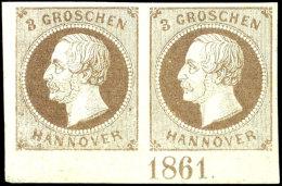 """3 Gr. Hellbraun König Georg V., Unterrandpaar Mit Vollständiger Jahreszahl """"1861"""", Einwandfrei..."""