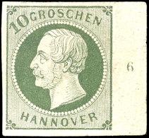 """10 Gr. Grün, Rechtes Randstück Mit Reihenzähler """"6"""", Sehr Farbfrisch, Sauber Ungebraucht Mit..."""
