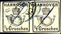 """1/2 Gr. Schwarz, Weiße Gummierung Waagerechtes Paar, Gestempelt """"Osnabrück 30.11."""" Und Federstriche, Auf..."""