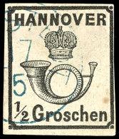 1/2 Gr. Schwarz Tadellos Gestempelt, Tiefst Gepr. Pfenninger, Mi. 250,--, Katalog: 17y O1 / 2 Gr. Black Neat...