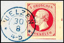 """1 Groschen Weinrot, Grober Druck, Vom Rechten Bogenrand Mit Reihenzahl """"4"""", Allseits Vollrandiges Und Farbfrisches..."""