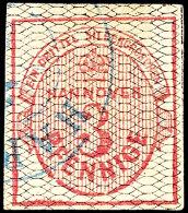 3 Pfg. Karmin, Netzwerkschwarz, Allseits Breitrandig, Gestempelt, Helle Stelle Im Rand, Signiert Berger BPP, Mi....