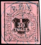 1/30 Th. Schwarz Auf Himbeerrot, Zentrisch K2 FALLERSLEBEN, Luxus, Gepr. Berger BPP, Mi. 65,-, Katalog: 3b O1 /...