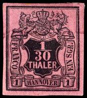 1/30 Thaler Schwarz Auf Himbeerrot, Vollrandiges Kabinettstück, Ungebraucht Mit Originalgummierung, Fotobefund...