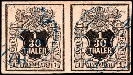 1/30 Thaler Schwarz Auf Lachsfarben, Farbfrisches Und Vollrandiges Waagerechtes Kabinettpar, Gestempelt Mit  Blauem...