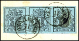 """1 Ggr. Schwarz Auf Graublau, Waager. 3er-Streifen, Allseits Breitrandig, Farbfrisch Mit 2 Klaren K1 """"OSNABRÜCK..."""